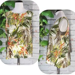 🍋J. Jill Tropical Palm Leaf Print Cami/Tank Top🍋